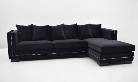 Roma Lounge sofa (Sort Velour) - Venstrevendt