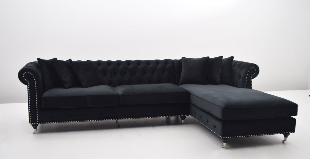 la serena lounge sofa sort velour venstrevendt classic living. Black Bedroom Furniture Sets. Home Design Ideas