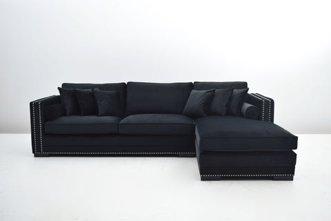 Soho Lounge sofa 306x94x72x185cm (Sort Velour) - Venstrevendt