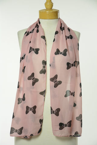 Pink and Black Bow Print Scarf S1