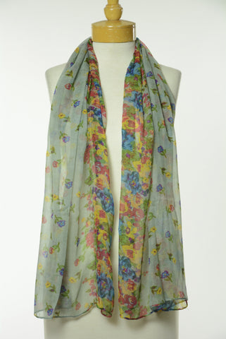 Grey Floral Print Scarf S5