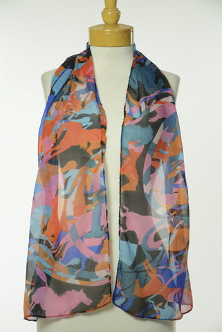 Coloful Running Horse Print Scarf S8