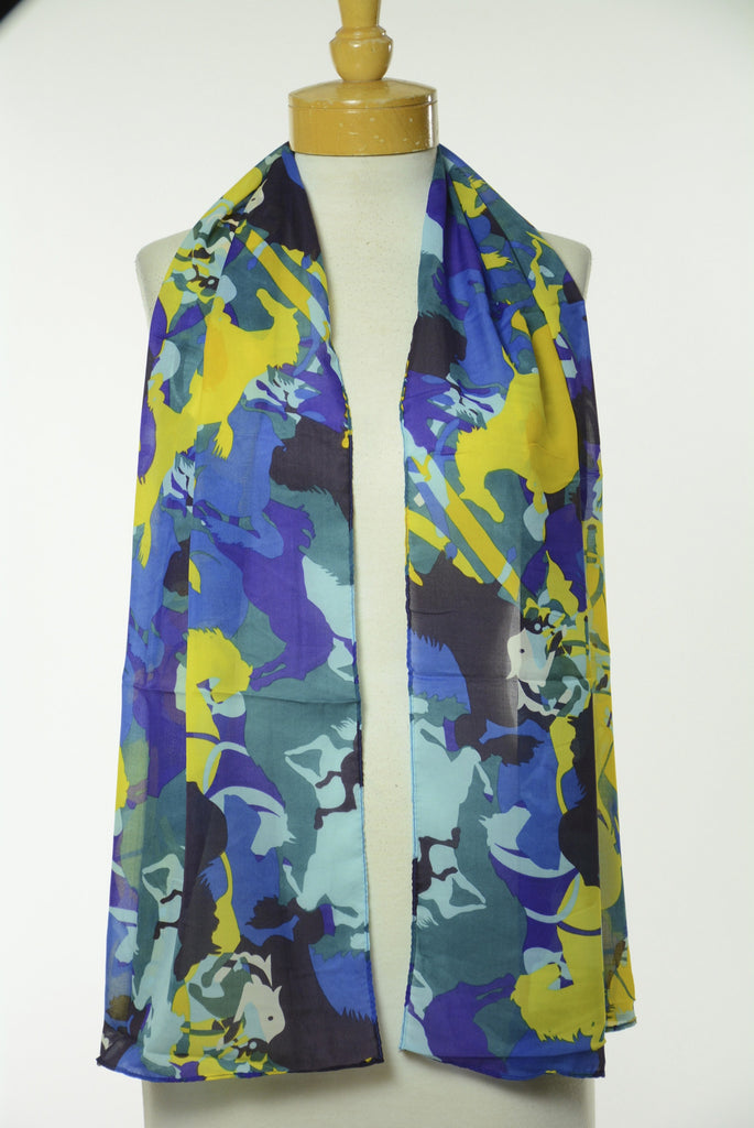 Running Horse Print Scarf S10