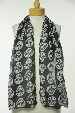 Black and White Skull Print Scarf S12