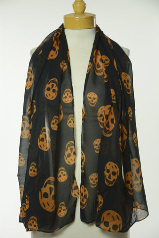 Black and Orange Skull Scarf S17