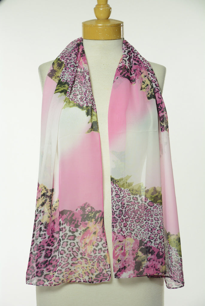 Pink Animal and Floral Print Scarf S18