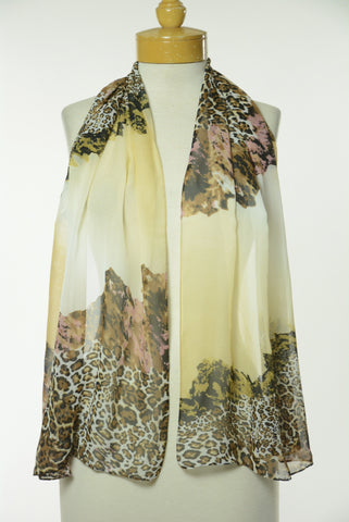 Brown Animal and Floral Print Scarf S19