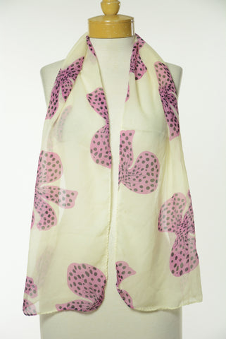 Pink and Black Bow Print Scarf S31