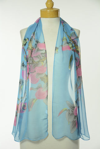 Blue Floral Print Scarf S40