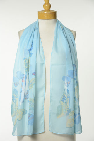 Blue Butterfly Print Scarf S52