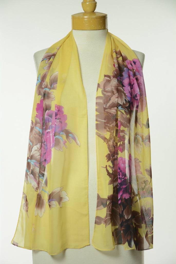 Yellow Floral Print Scarf S55