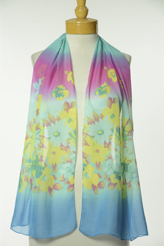 Blue Floral Print Scarf S57