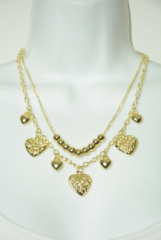 Gold Tier Heart Necklace 122