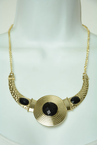 Black and Gold Statement Necklace 126