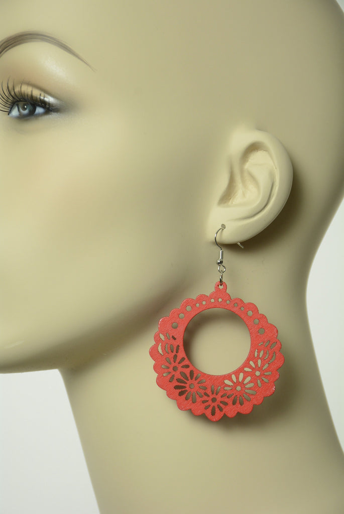 Red Cut out Wood Earrings 161