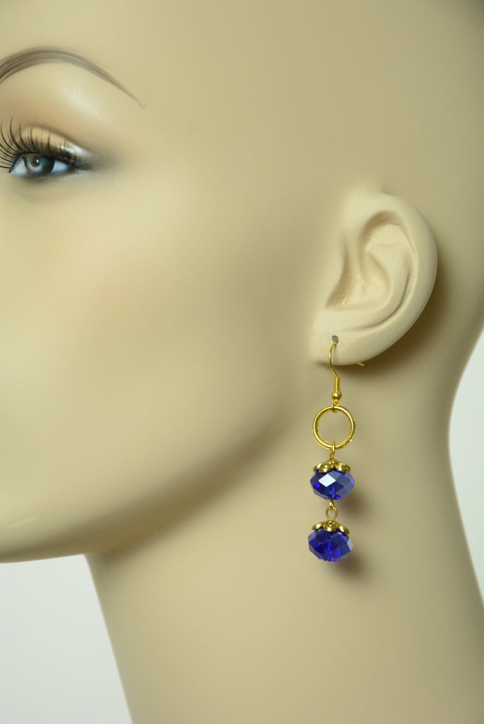 Blue and Gold Dangle Earrings 205