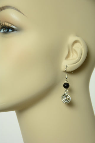 Black Swirl Dangle Earrings 213