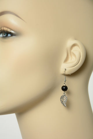 Black Leaf Dangle Earrings 249
