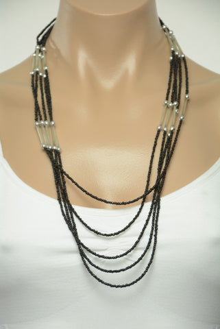 Black and Silver Tier Bead Necklace 333