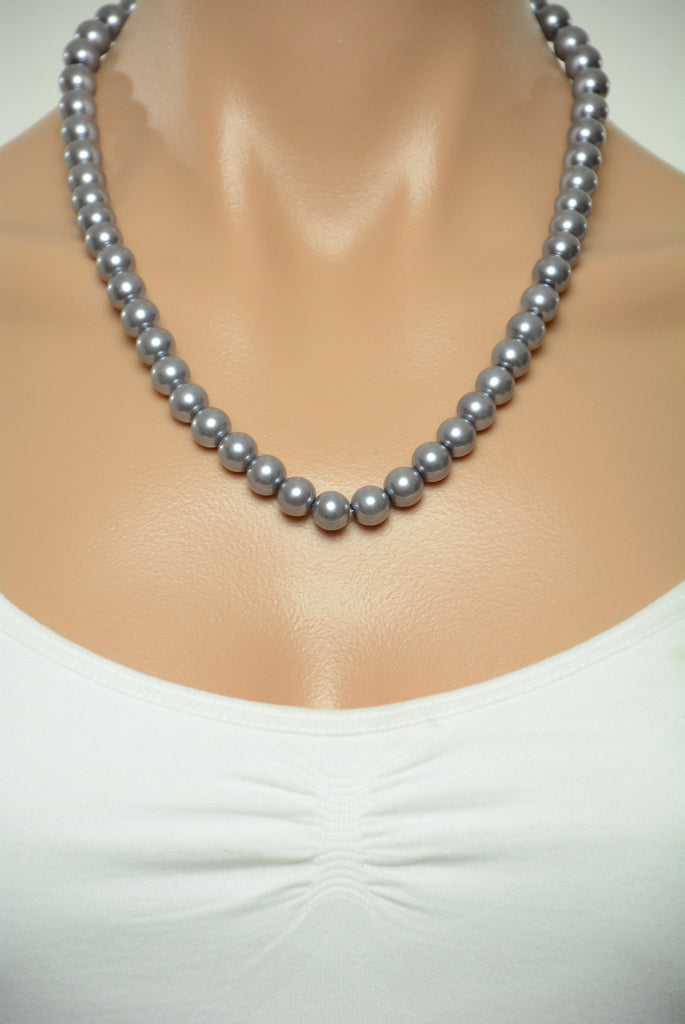 Grey Pearl Style Necklace 346