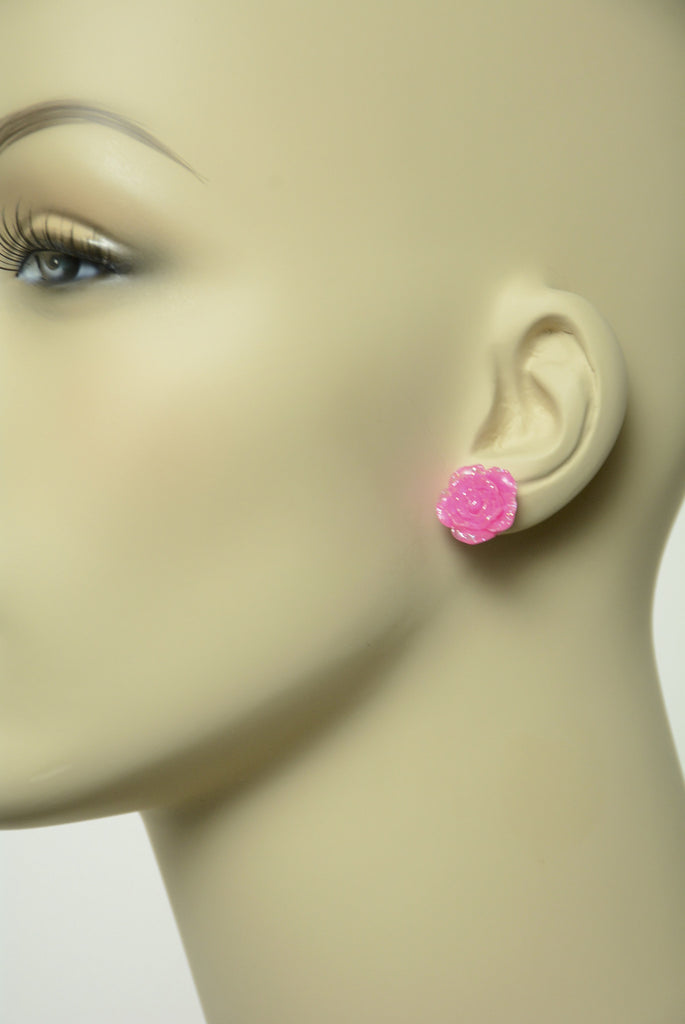 Large Pink Flower Stud Earrings 435