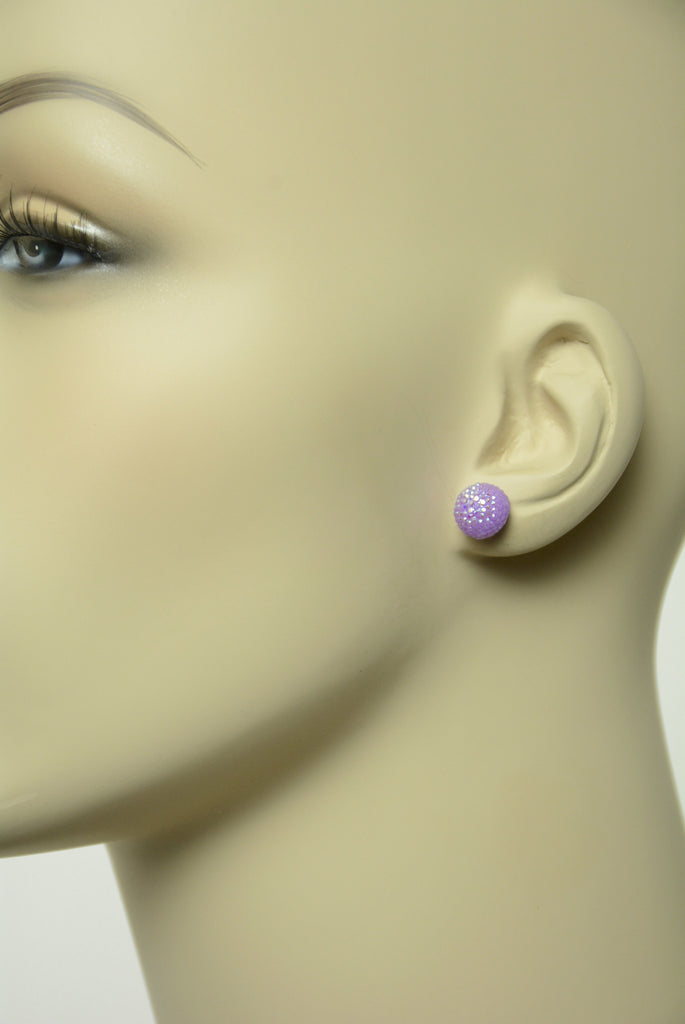 Purple Sugar Ball Stud Earrings 543