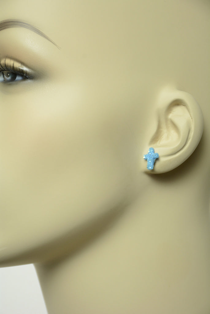 Blue Sugar Style Cross Stud Earrings 579