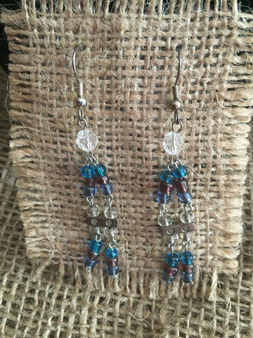 Beaded blue earrings