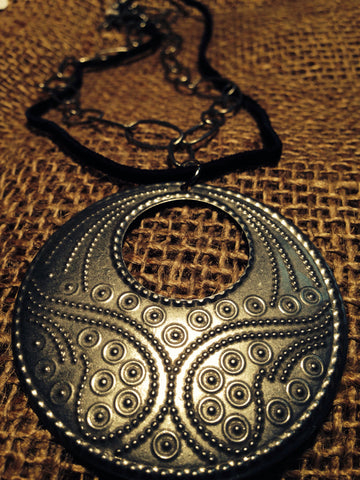 Leather and Silver Boho Necklace