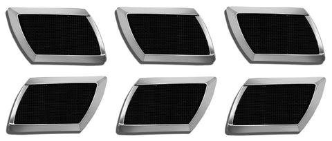 ALL Universal Stick-On Square Portholes Chrome with Black Mesh Insert - (Set of 6-Pc)