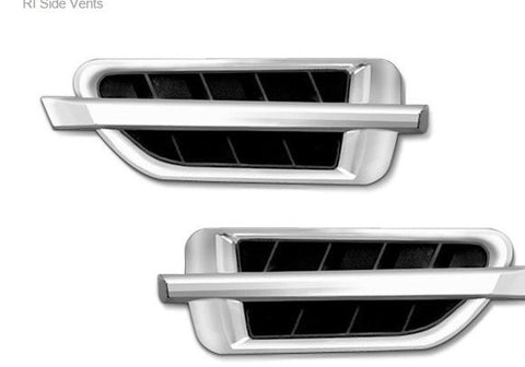 ALL Universal Universal Stick-On X-Caddi Sport Side Vents 320mm x 95mm Chrome with Black Insert (Pair)