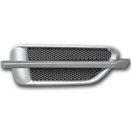 ALL Universal Universal Stick-On X-Caddi Sport Side Vents 320mm x 95mm Chrome with Black Mesh Insert (Pair)