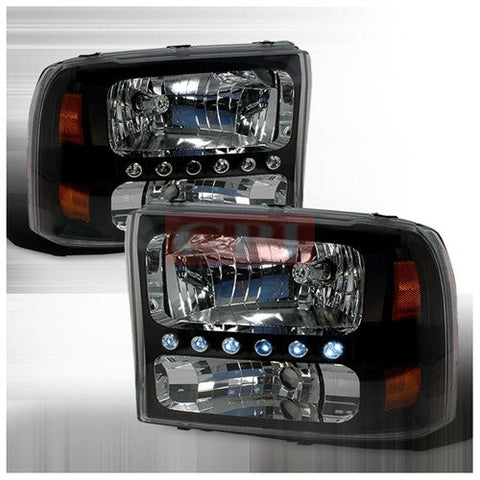Ford 1999-2004 Ford F250 Led 1Pc Headlights/ Head Lamps-Euro Style-k