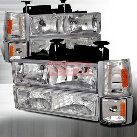 CHEVROLET/ CHEVY 94-98 GMC PICK UP - 8 PC HEAD LIGHTS/ LAMPS & CORNER & BUMPER LIGHTS - COMBO   1 SET RH & LH