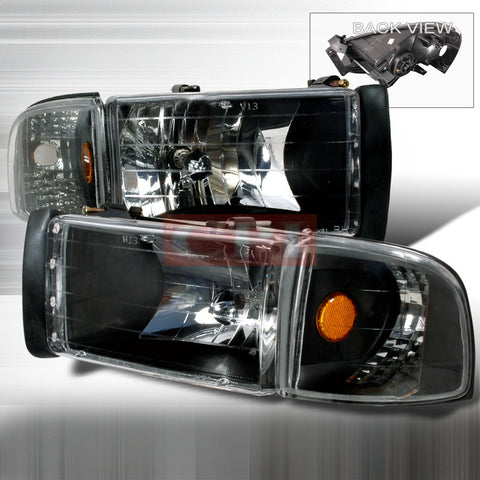 Dodge 1994-2001 Dodge Ram Pick Up Headlights/ Head Lamps Combo Set-Euro Style Performance 1994,1995,1996,1997,1998,1999,2000,2001-u