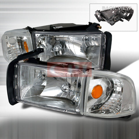 DODGE 1994-2001 DODGE RAM PICK UP HEADLIGHTS/ HEAD LAMPS COMBO SET-EURO STYLE   1994,1995,1996,1997,1998,1999,2000,2001