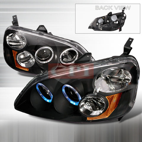 Honda 2001-2003 Honda Civic Dual Halo Projector Head Lamps/ Headlights-i