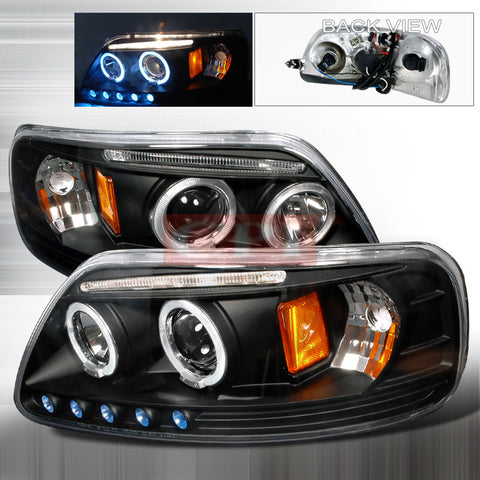 Ford 1997-2003 Ford F150 Led Halo Projector Head Lamps/ Headlights-m