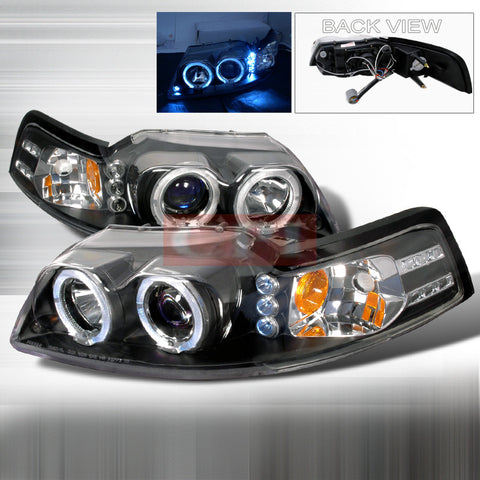 Ford 1999-2004 Ford Mustang 2 Halo Led Projector Head Lamps/ Headlights 1 Set Rh&Lh Performance 1999,2000,2001,2002,2003,2004-a