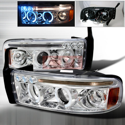 DODGE 1994-2001 DODGE RAM HALO LED PROJECTOR HEAD LAMPS/ HEADLIGHTS 1 SET RH&LH   1994,1995,1996,1997,1998,1999,2000,2001