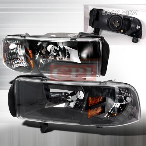 Dodge 1994-2001 Dodge Ram Pick Up 1Pc Headlights/ Head Lamps-Euro Style-f