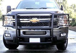 Chevrolet Silverado 2500 Hd 2011 Chevrolet Silverado 2500 Hd One Piece Grill/Brushguard Black Grille Guards & Bull Bars Stainless Products   2011