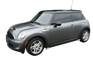 Mini Cooper Convertible 04-08 Mini Cooper Convertible Siderail Black W/ Stainless Trim Nerf Bars & Tube Side Step Bars Stainless