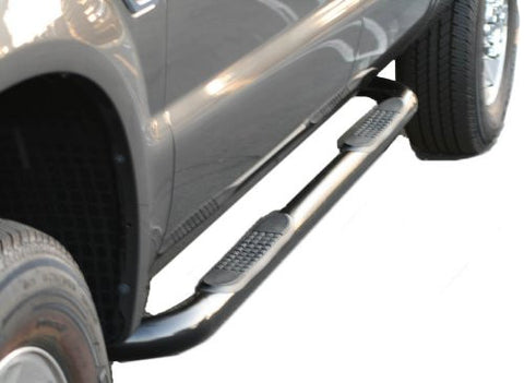 Nissan Frontier 06-10 Nissan Frontier Crw Cab Sidebar 3Inch Black Crew Cab Nerf Bars & Tube Side Step Bars Stainless