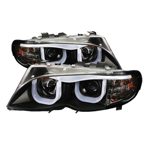 BMW E46 3-SERIES 02-05 4DR Projector Headlights 1PC - 3D Halo - Black -  High H1 (Included) - Low H1 (Included)