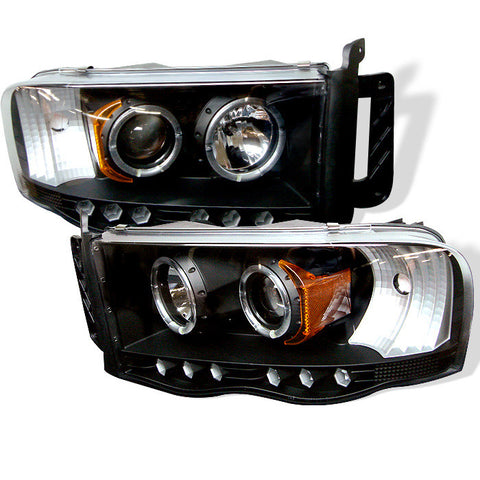 Dodge Ram 1500 02-05 / Ram 2500/3500 03-05 Projector Headlights - LED Halo  - LED ( Replaceable LEDs ) - Black - High H1 (Included) - Low H1 (Included)