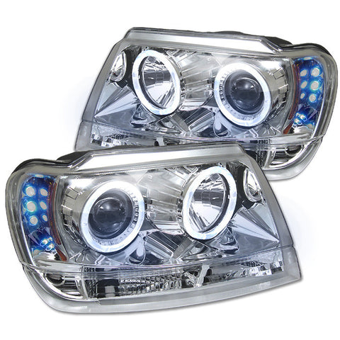 Jeep Grand Cherokee 99-04 Projector Headlights - LED Halo - LED (  Replaceable LEDs ) - Chrome - High H1 (Included) - Low 9006 (Not Included)