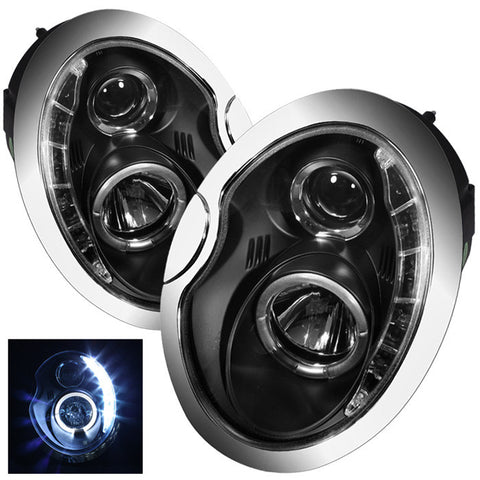 Mini Cooper 02-06 Projector Headlights - DRL - Black - High H1 (Included) - Low H1 (Included)