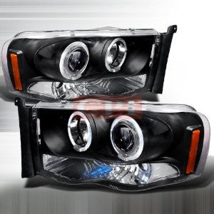 DODGE 2002-2004 DODGE RAM HALO PROJECTOR HEAD LAMPS/ HEADLIGHTS - BLACK 1 SET RH&LH   2002,2003,2004