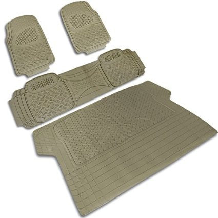 UNIVERSAL ALL UNIVERSAL ALL PVC 3D PRINT FLOOR MAT BEIGE 3 PIECES + TRUNK PIECE